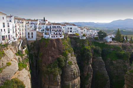 View of white houses on the mountain top, blue sky, Spain