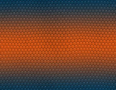 Deep blue and orange gradient snake skin seamless pattern, hexagonal scale Stockfoto