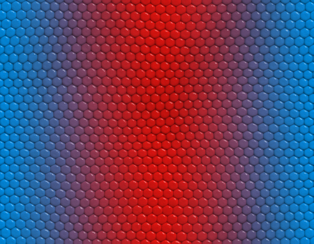 Blue and red gradient snake skin seamless pattern, hexagonal scale Stockfoto