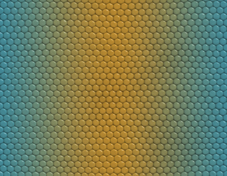 Blue and yellow gradient snake skin seamless pattern, hexagonal scale