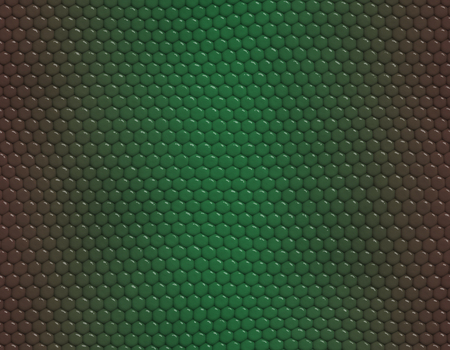 Brown and green gradient snake skin seamless pattern, hexagonal scale