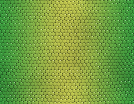Yellow and green gradient snake skin seamless pattern, hexagonal scale