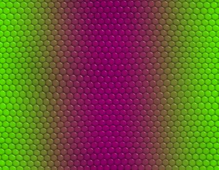 Magenta and green gradient snake skin seamless pattern, hexagonal scale