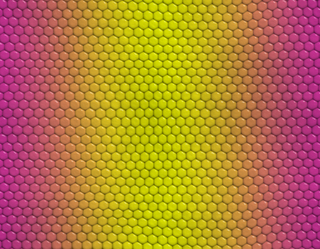 Magenta and yellow gradient snake skin seamless pattern, hexagonal scale