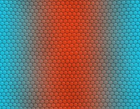 Light blue and orange gradient snake skin seamless pattern, hexagonal scale Stockfoto