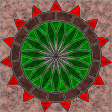 Brown, green and red marble tile with abstrac flower and circle pattern Reklamní fotografie