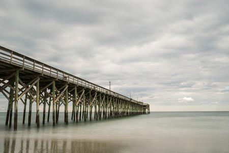 grand strand: Atlantic Ocean and Pier Stock Photo