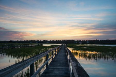 barrier island: sunset over the Marsh at Pawleys Island, South Carolina Stock Photo