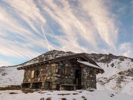swiss alps: mountain hut in the Swiss Alps
