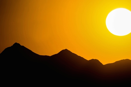 sonora: sunset over mountains in the Sonora Desert Stock Photo