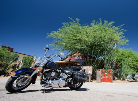 motorcycle and saloon in Tombstone, Arizona