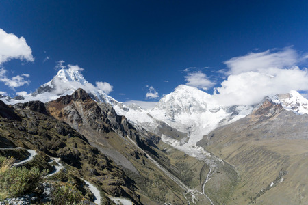 ancash: Llanganuco valley in the Cordillera Blanca in Peru Stock Photo