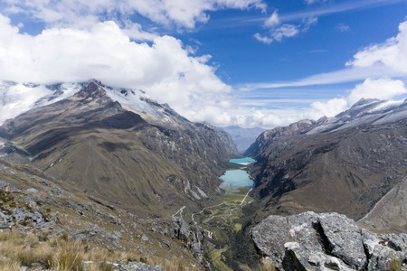 Llanganuco Valley in the Cordillera Blanca in Peru Stock Photo