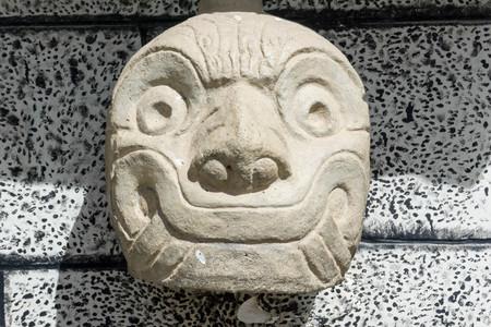stone carving tenon heads in Chavin de Huantar 免版税图像