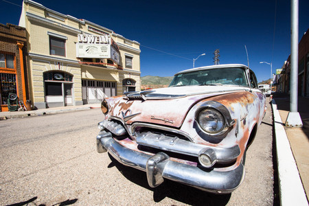 downtown street with old car in Lowell ,Arizona Editorial