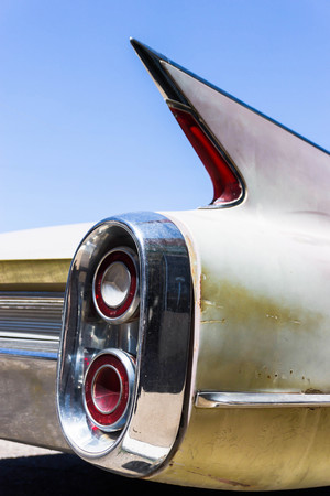 taillight: tail fin and taillight of classic car Editorial