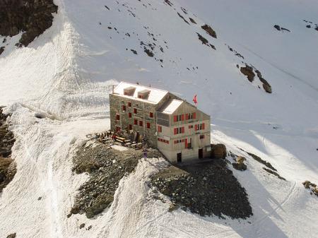 britannia: mountain hut in the Swiss Alps