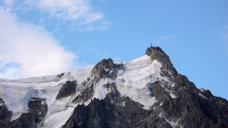 the Aiguille du Midi in the French Alps near Chamonix