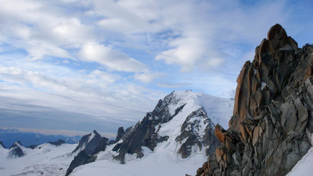 blanc: the mountains near Mont Blanc and Chamonix in the French Alps Stock Photo