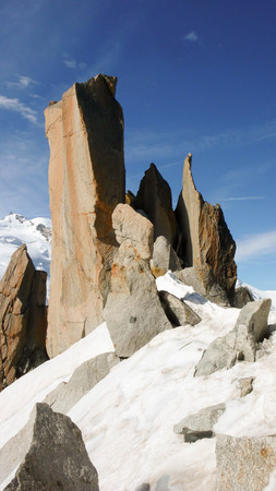 rocky ridge of the Cosmiques in the French Alps near Chamonix Stock Photo