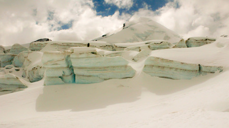 pers: glacier and seracs covered in snow in the Swiss Alps Stock Photo