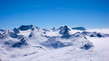 the mountains of the Silvretta Massif in the Alps in winter Stock Photo