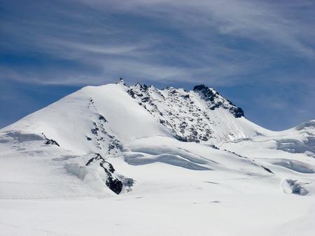Saas Fee: the Rimpfischhorn in the Valais in the Swiss Alps near Saas Fee