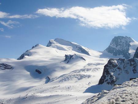 Saas Fee: the Strahlhorn in the Valais in the Swiss Alps near Saas Fee Stock Photo