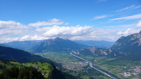 sargans: the Rhine Valley near Sargans with mountains and clouds