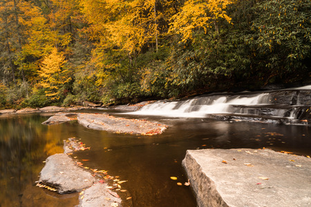 a small waterfall and river with rocks in the foreground and fall colors in the background