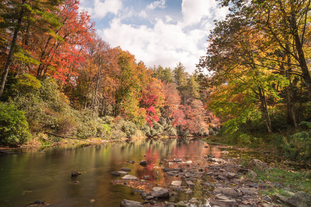 fall colors and the Linville River in the Appalachian mountains