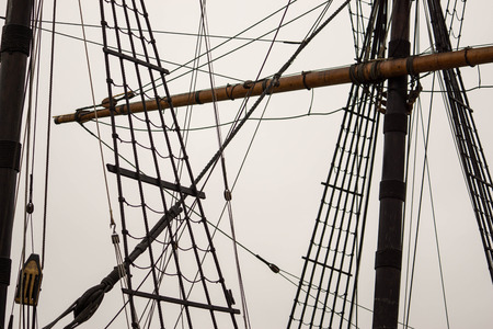 detail of the rigging of an old sailing ship