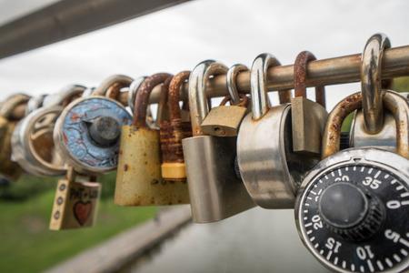 railing: locks on a bridge railing symbolizing love