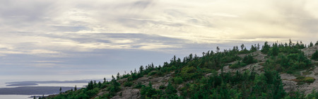 Cadillac Mountain and the coast of Acadia National Park in Maine Stock Photo