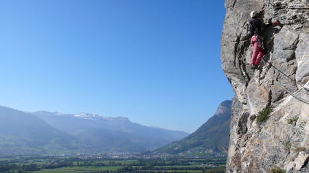 sargans: a rock climber in the Swiss Alps near Sargans