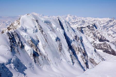expose: the north face of Liskamm in the Swiss Alps near Zermatt Stock Photo