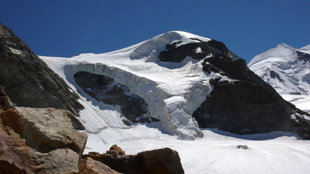 pers: Piz Cambrena with its hanging glacier in the Swiss Alps near St. Moritz