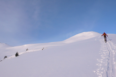 off piste: a backcountry skier climbs a mountain in winter in the Swiss Alps in fresh powder snow