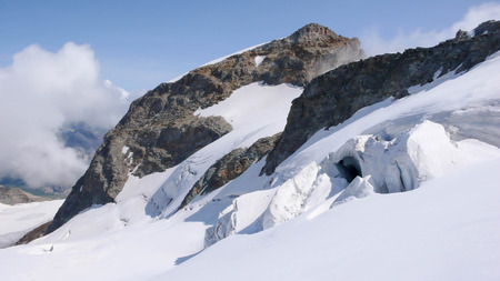 pers: glacier with crevasses and seracs in the Swiss Alps