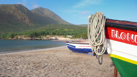 santiago cape verde: fishing boats on the beach in the bay of Tarrafal on Santiago Island in Cape Verde