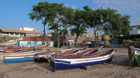 fishing boats on the beach in the bay of Tarrafal on Santiago Island in Cape Verde