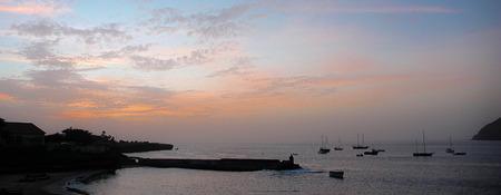 santiago cape verde: the harbor of Tarrafal on Santiago Island in Cape Verde at sunset