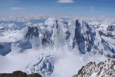 serac: the north face of Liskamm in Zermatt as seen from the Dufourspitze