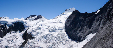 crevasse: the Swiss Alps near Grindelwald with a view of Moench and Eiger