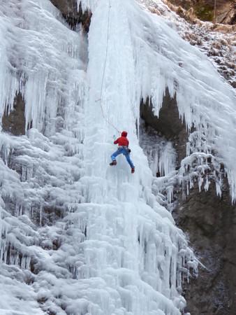 ice climbing in Italy Stock Photo