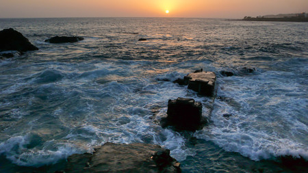 cape verde: sunset over the ocean on Santiago island in Cape Verde