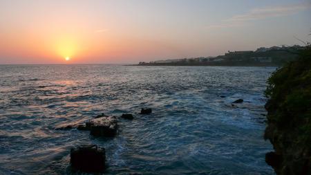 sunset over the ocean on Santiago island in Cape Verde