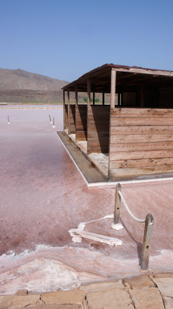 salt mine: a bathing house and lake in an old salt mine on Sal Island in Cape Verde
