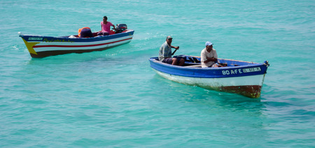 fishermen in small boats on Sal Island in Cape Verde Stock Photo