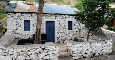 santiago cape verde: old renovated slave cabin on Santiago Island in Cape Verde Stock Photo